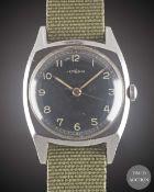 A GENTLEMAN'S STAINLESS STEEL LEMANIA CZECH MILITARY PILOTS WRIST WATCH CIRCA 1940s Movement:17J,
