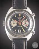 A GENTLEMAN'S STAINLESS STEEL HEUER AUTAVIA GMT AUTOMATIC CHRONOGRAPH WRIST WATCH CIRCA 1970s,