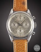 "A GENTLEMAN'S STAINLESS STEEL WAKMANN CHRONOGRAPH WRIST WATCH CIRCA 1960s, WITH ""TWISTED"" LUGS & """