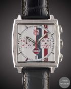 A GENTLEMAN'S STAINLESS STEEL TAG HEUER MONACO AUTOMATIC CHRONOGRAPH WRIST WATCH CIRCA 2008, REF.