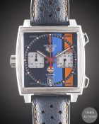 A GENTLEMAN'S STAINLESS STEEL TAG HEUER MONACO GULF AUTOMATIC CHRONOGRAPH WRIST WATCH CIRCA 2018,