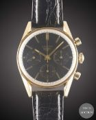 A RARE GENTLEMAN'S GOLD PLATED HEUER CARRERA CHRONOGRAPH WRIST WATCH CIRCA 1960s, REF. 2448N