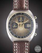 A GENTLEMAN'S STAINLESS STEEL HEUER CHRONOGRAPH WRIST WATCH CIRCA 1980, REF. 1614 Movement:17J,