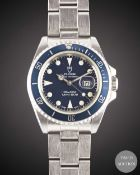 A LADIES STAINLESS STEEL ROLEX TUDOR PRINCE OYSTERDATE MINI SUB BRACELET WATCH CIRCA 1995, REF.