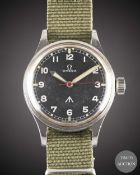 A GENTLEMAN'S STAINLESS STEEL ROYAL RHODESIAN AIR FORCE MILITARY OMEGA PILOTS WRIST WATCH CIRCA