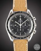 A GENTLEMAN'S STAINLESS STEEL OMEGA SPEEDMASTER PROFESSIONAL CHRONOGRAPH WRIST WATCH DATED 1971,