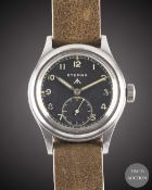 A GENTLEMAN'S STAINLESS STEEL BRITISH MILITARY ETERNA W.W.W. WRIST WATCH CIRCA 1940s, PART OF THE ""