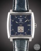 A GENTLEMAN'S STAINLESS STEEL TAG HEUER MONACO AUTOMATIC WRIST WATCH CIRCA 2005, REF. WW2111 WITH