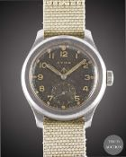 A GENTLEMAN'S STAINLESS STEEL BRITISH MILITARY CYMA W.W.W. WRIST WATCH CIRCA 1945, PART OF THE ""