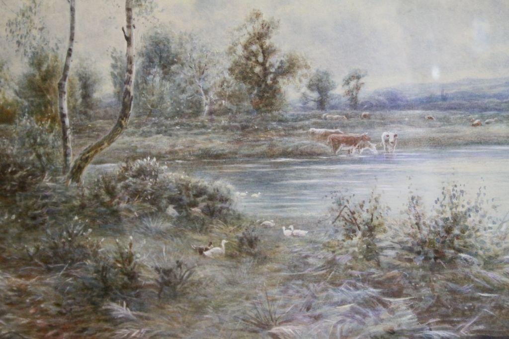 Lot 40 - A Honeywood Waller (fl.1884-91) - Large framed & glazed watercolour of a river scene