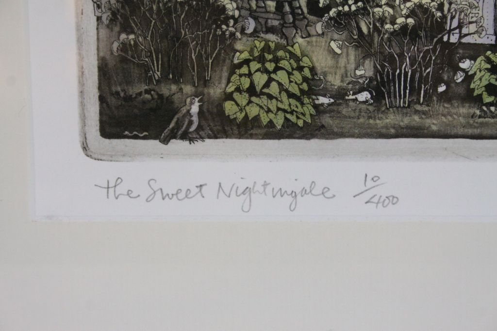"""Lot 34 - Framed & glazed Limited Edition coloured Print """"The Sweet Nightingale"""" by Graham Clarke, image"""