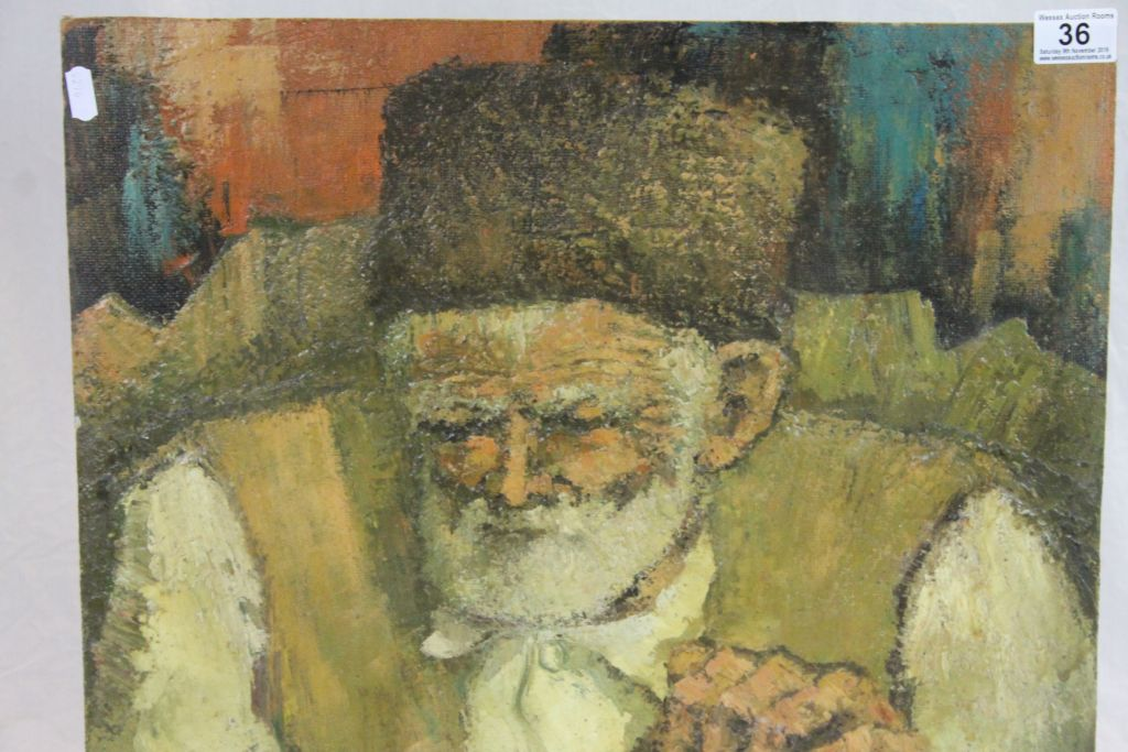 Lot 36 - Unframed Bulgarian Oil on board Portrait of a Peasant gentleman, signed & dated 1989, measures