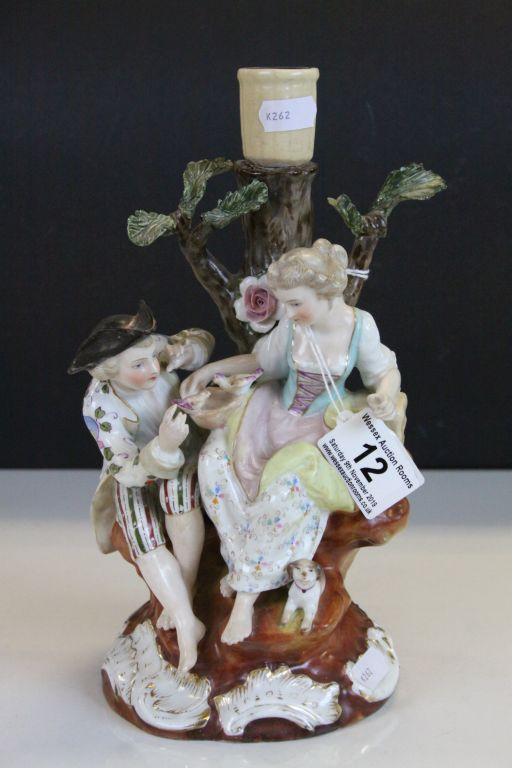 Lot 12 - 19th Century Dresden style candlestick with figurative decoration, blue mark to base
