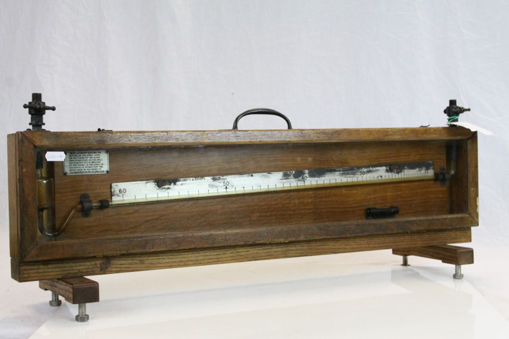"""Lot 41 - Vintage Oak cased """"Negretti & Zambra Precision Manometer with stand, approx 76 x 29.5 x 7cm at the"""