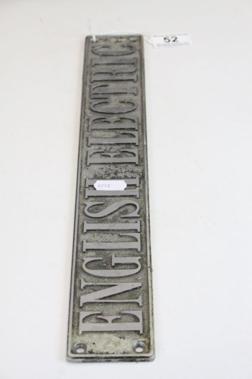 """Lot 52 - Cast Aluminium vintage Sign for """"English Electric"""", measures approx 40.5 x 6cm"""