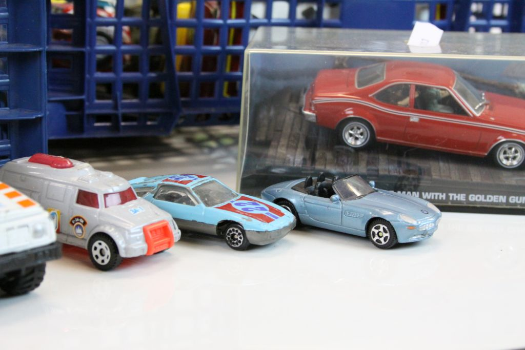 Lot 26 - Three trays of boxed and play worn cars including Dinky,Corgi etc