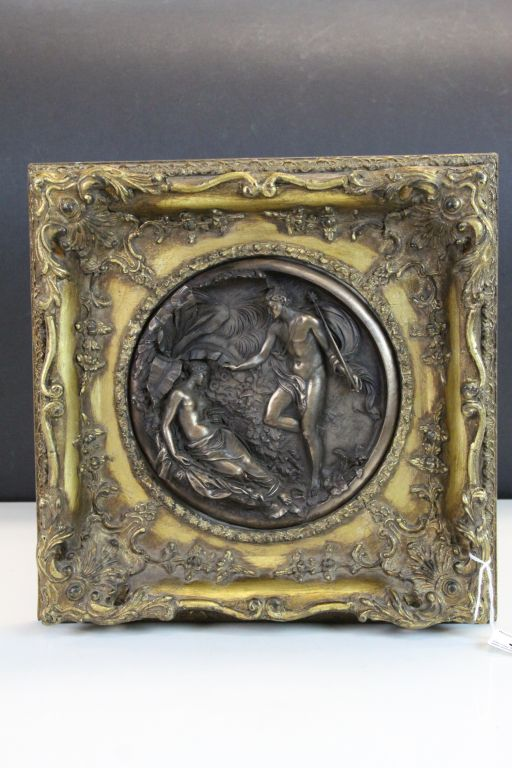 Lot 32 - Ornate Gilt framed bronze effect circular Plaque with 19th Century Classical scene, frame approx