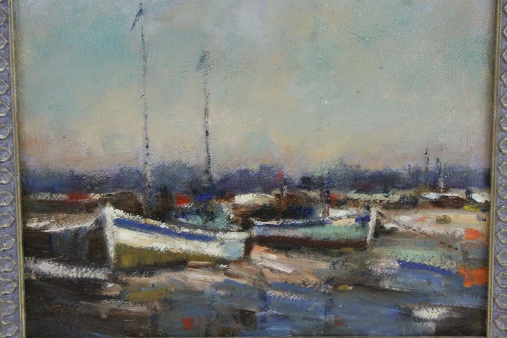 Lot 31 - Framed Oil on board Harbour scene with indistinct signature, measures approx 19 x 24.5cm