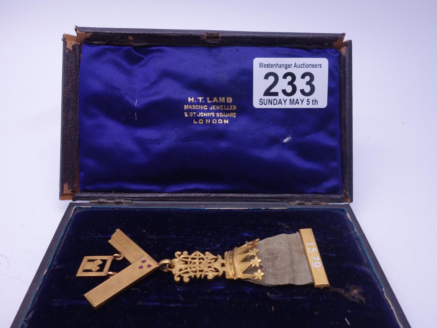 Lot 233 - Masonic Victorian jewel gilt metal decoration with 18ct gold T-Square set with 3 x rubies for St