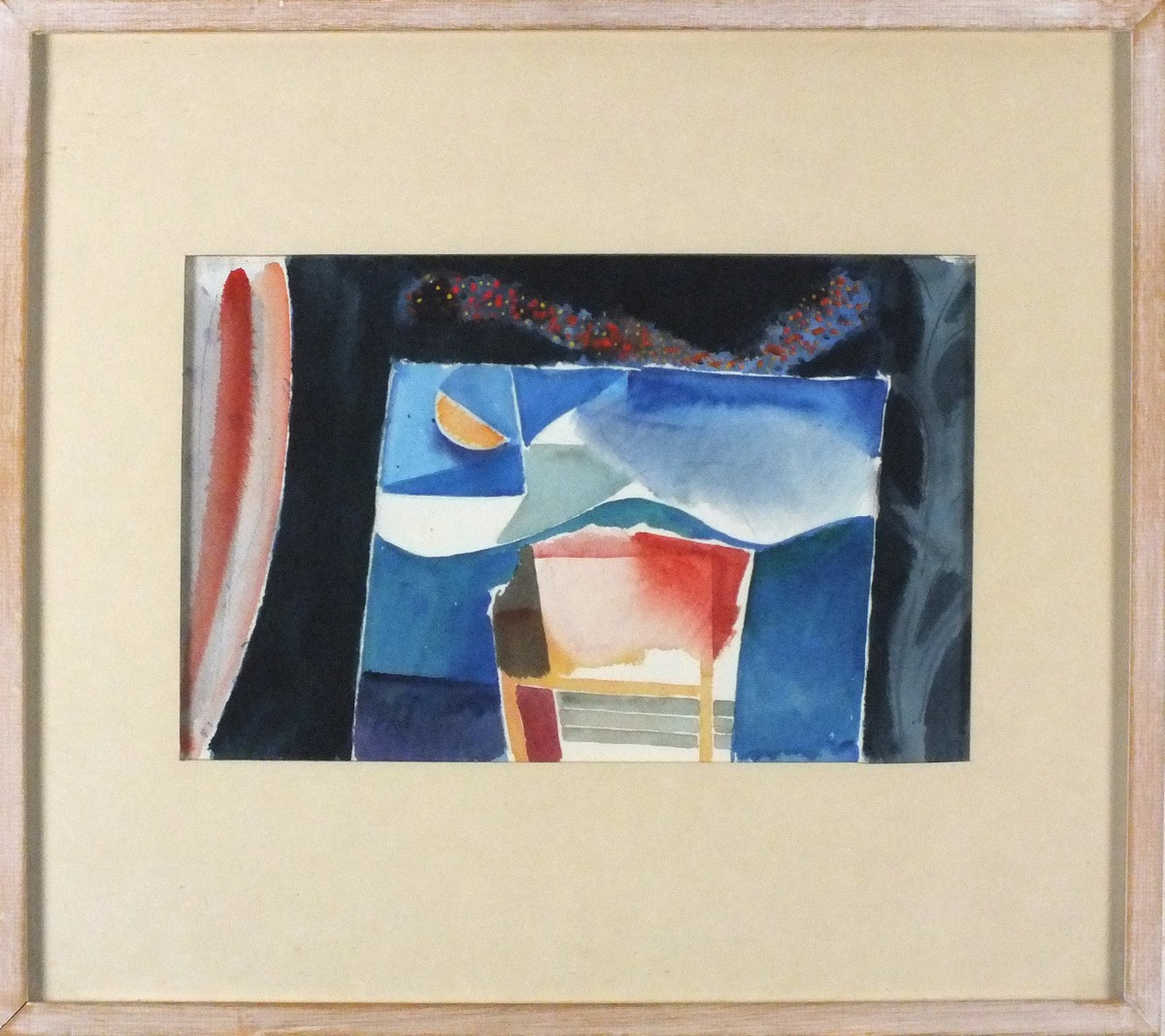Lot 124 - Clive BLACKMORE (British b. 1940)Set for Marionettes with Moon, Watercolour, Label verso with