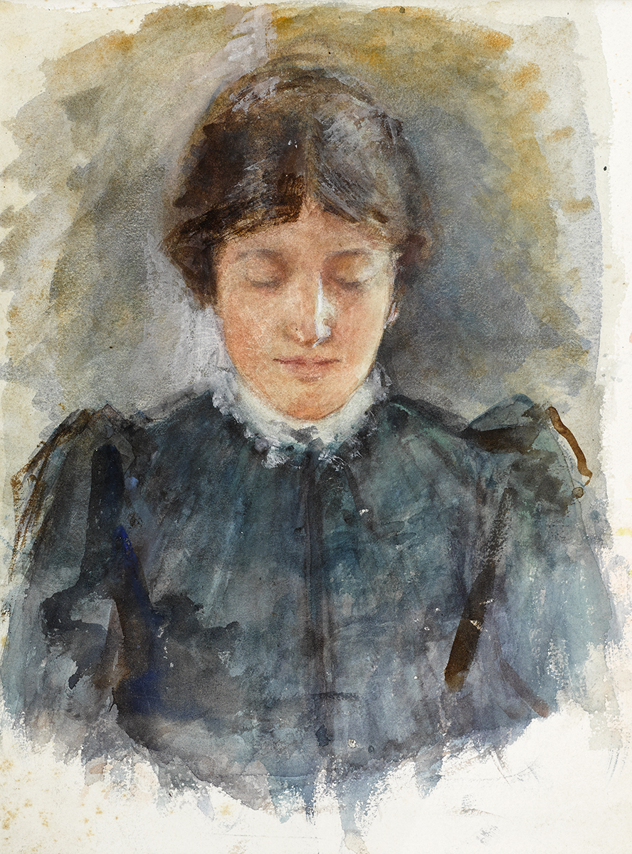 Lot 23 - John Butler Yeats RHA (1839-1922)PORTRAIT OF LILY YEATS watercolour 11 by 8.50in. (27.9 by 21.6cm)