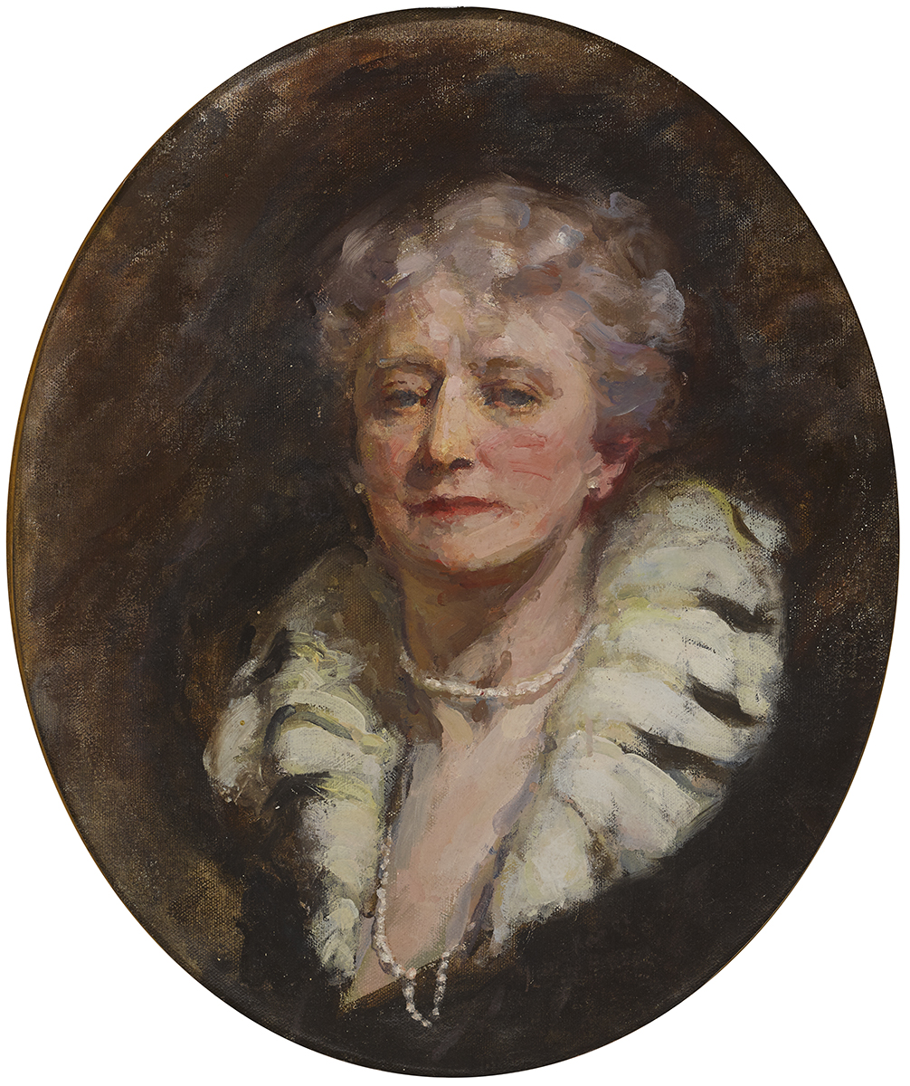 Lot 19 - Marguerite E. Lawrence (fl. 1903-19)HEAD OF A WOMAN oil on canvas in a feigned oval original