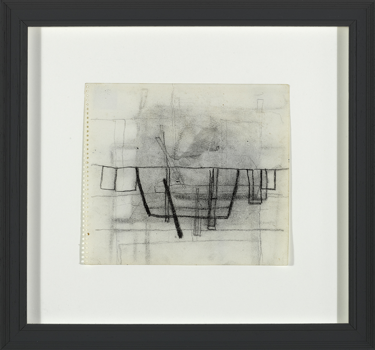 Lot 59 - William Scott CBE RA (1913-1989)STILL LIFE WITH PAN AND GLASSES, c. 1953 charcoal and wash on