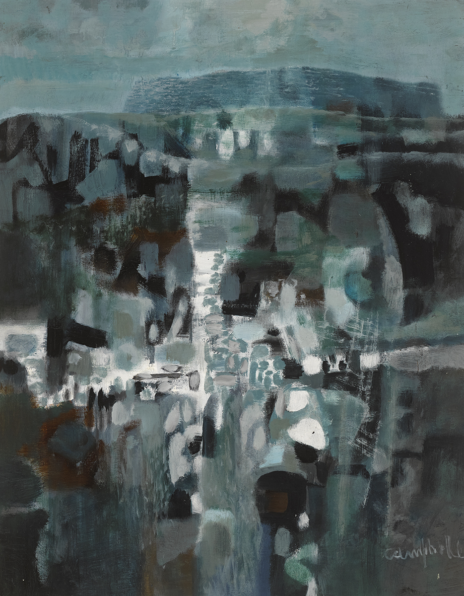 Lot 58 - George Campbell RHA (1917-1979)DÚN ANOCHT, INNISHMÓR oil on board signed lower right; inscribed on