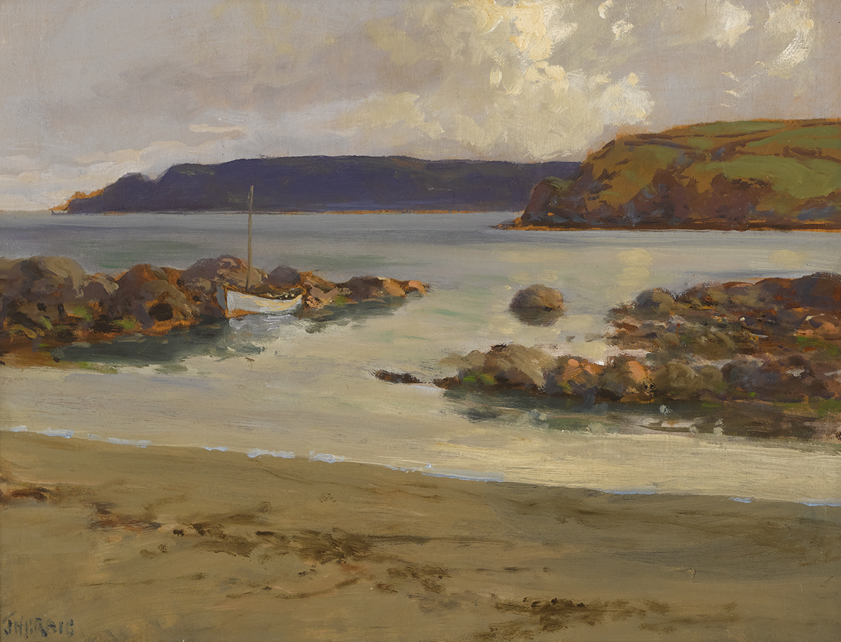 Lot 15 - James Humbert Craig RHA RUA (1877-1944)SAIL BOAT IN SHALLOW WATERS oil on panel signed lower left;