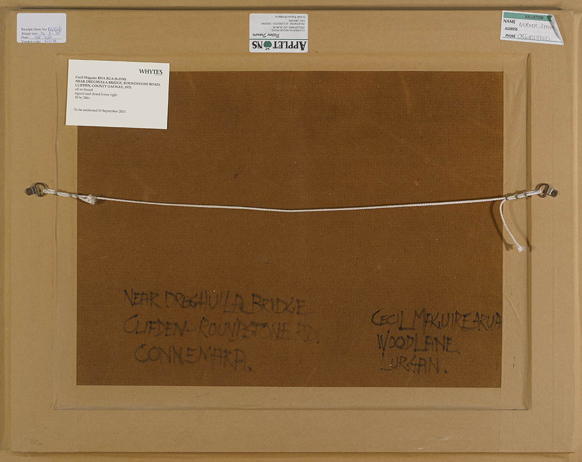 Lot 9 - Cecil Maguire RHA RUA (b.1930)NEAR DREGHULLA BRIDGE, ROUNDSTONE ROAD, CLIFDEN, COUNTY GALWAY, 1970