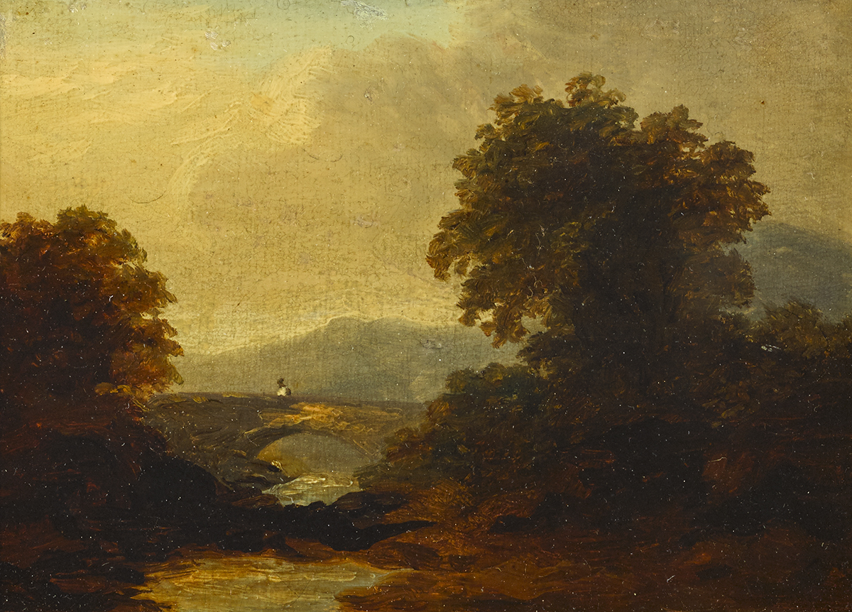 Lot 17 - James Arthur O'Connor (1792-1841)DARGLE RIVER oil on panel inscribed on reverse 4 by 5.75in. (10.2