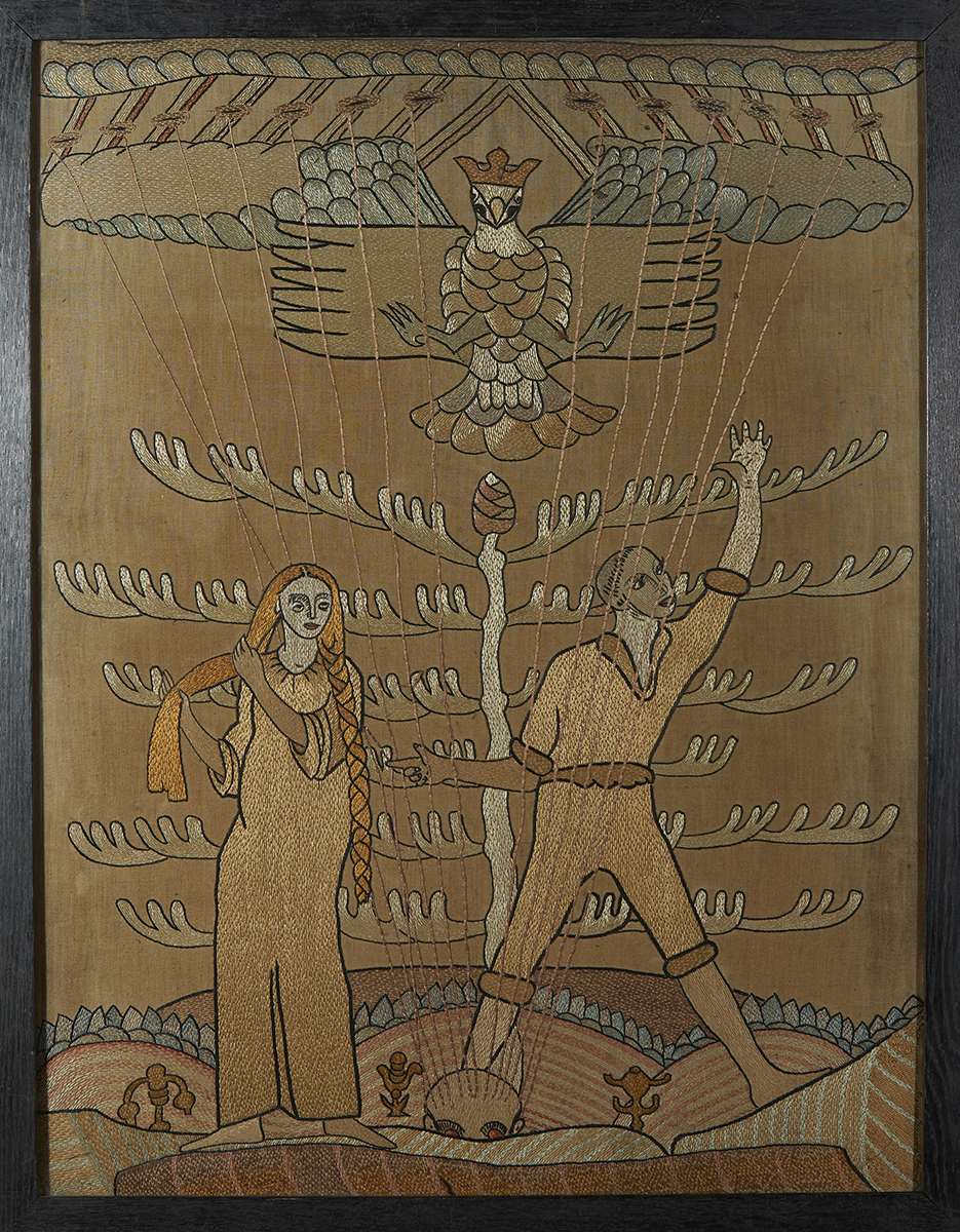 Lot 25 - Susan Mary ('Lily') Yeats (1866-1949)EMBROIDERED PANEL, FISA PLAYING HIS HARP Cloth, embroidered