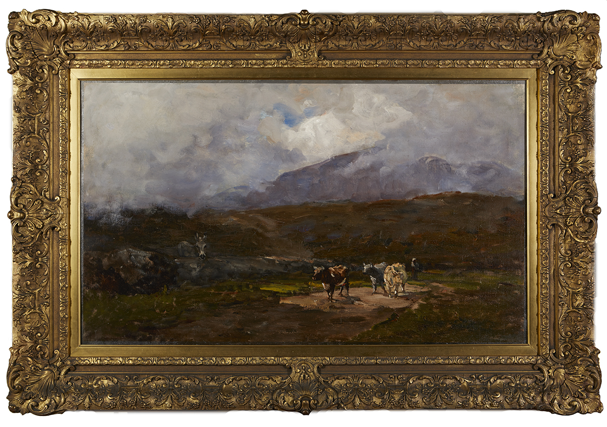 Lot 18 - Nathaniel Hone RHA (1831-1917)HERDSMAN AND COWS ON A COUNTRY ROAD, GLENMALURE, COUNTY WICKLOW, c.