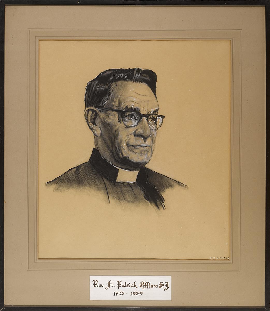 Lot 42 - Seán Keating PPRHA HRA HRSA (1889-1977)PORTRAIT OF REV. FR. PATRICK O'MARA S.J. (1875-1969) charcoal