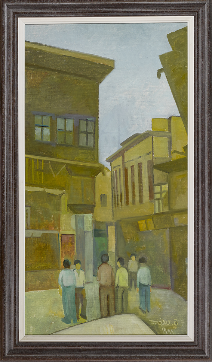 Lot 50 - Hafidh Al-Droubi (Iraqi, 1914-1991)BAGHDAD STREET SCENE, 1988 oil on canvas signed and dated in