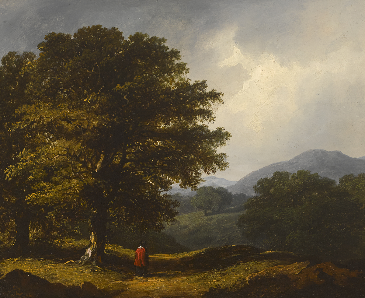 Lot 16 - James Arthur O'Connor (1792-1841)FIGURE IN A WOODED LANDSCAPE, 1839 oil on panel signed and dated