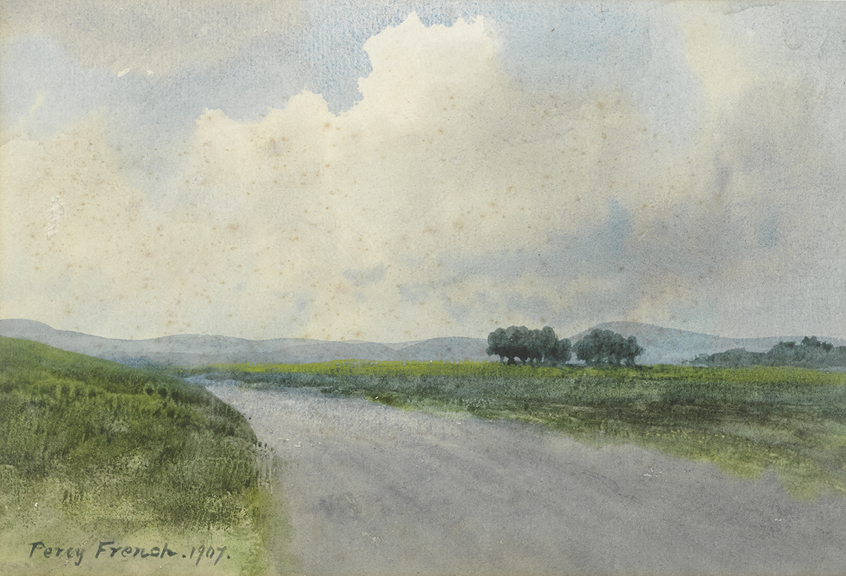 Lot 1 - William Percy French (1854-1920)COUNTRY ROAD WITH TREES, 1907 watercolour signed and dated lower
