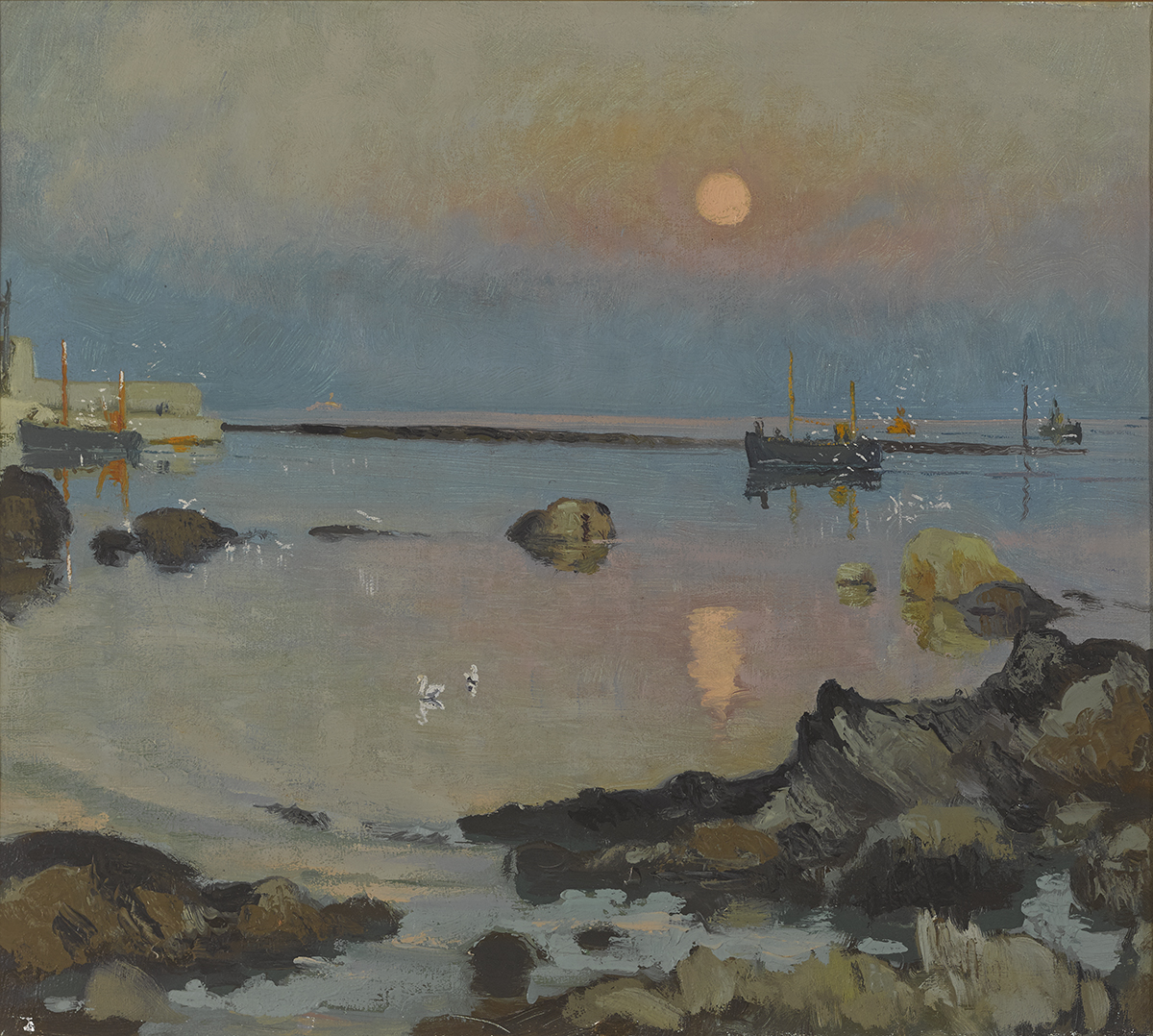 Lot 8 - Patrick Leonard HRHA (1918-2005)MOON OVER RUSH HARBOUR oil on canvas signed on reverse 16 by