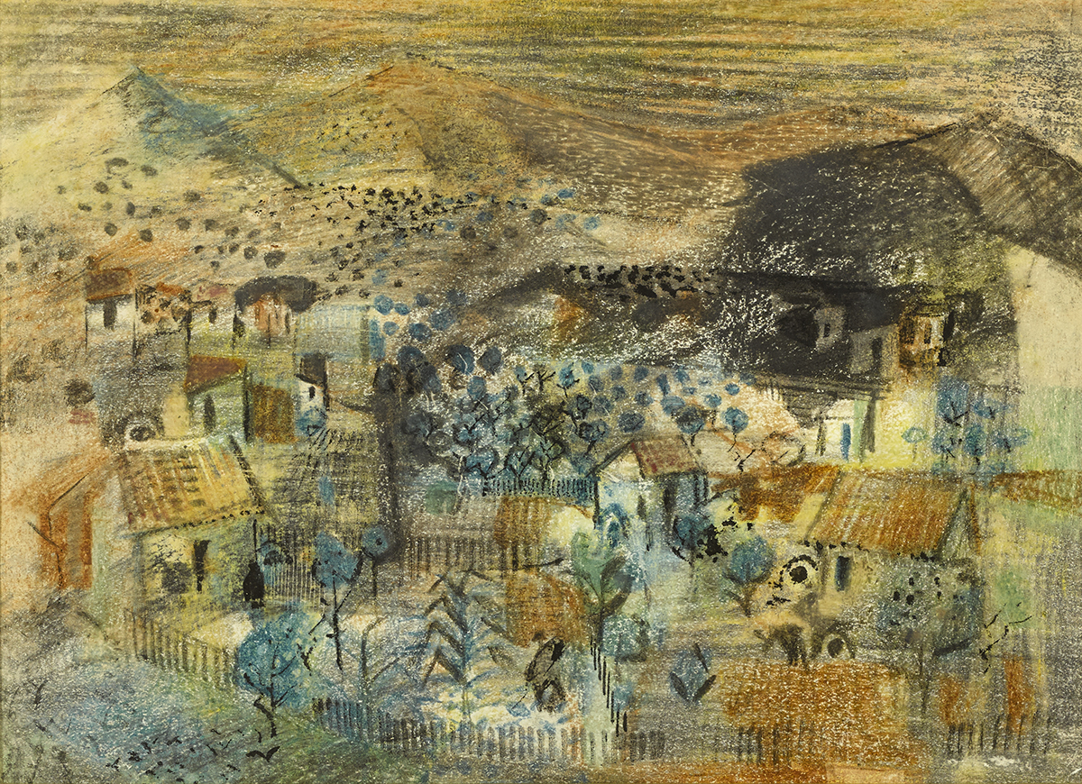 Lot 52 - George Campbell RHA (1917-1979)LE SAMANA SANTA, MALAGA and SPANISH VILLAGE (A PAIR) pastel; (2)