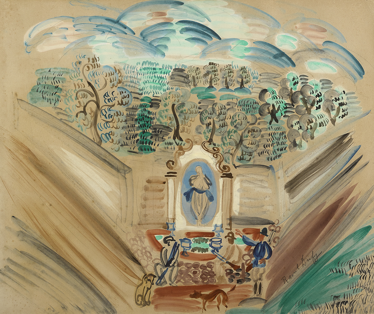 Lot 47 - Raoul Dufy (French, 1877-1953)A PARK CORNER watercolour signed lower right 19.25 by 23.50in. (48.9