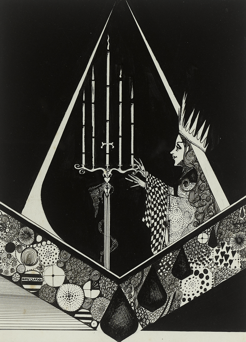 Lot 33 - Harry Clarke RHA (1889-1931)UNTITLED (QUEEN AND CANDELABRUM), c. 1912 ink on paper signed lower left