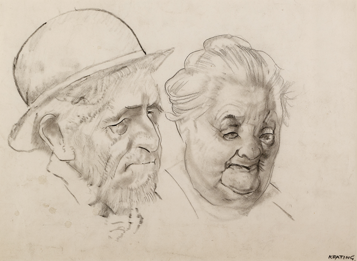 Lot 39 - Seán Keating PPRHA HRA HRSA (1889-1977)LEFT TO US TO LOOK GOOD charcoal on paper signed lower