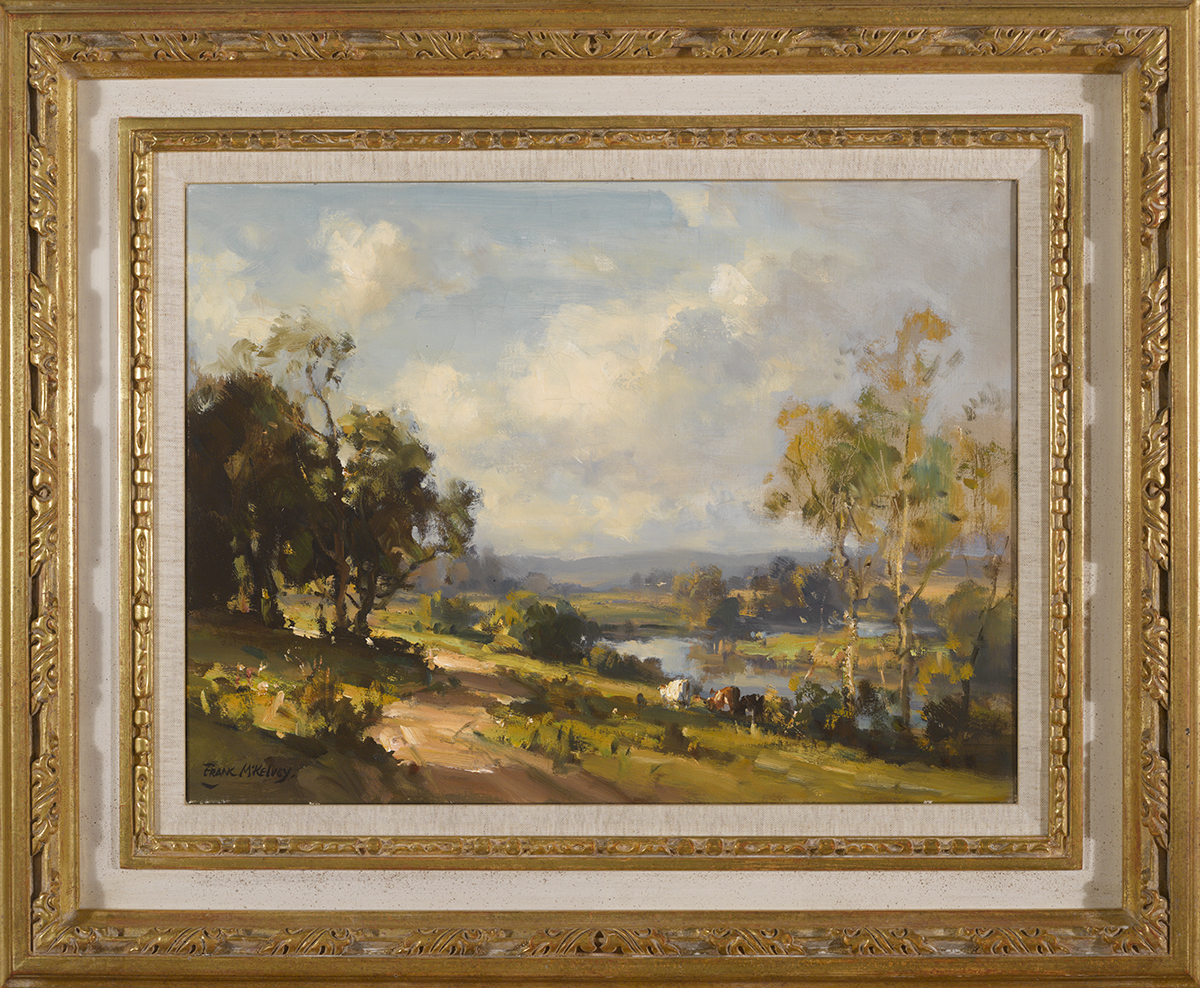 Lot 13 - Frank McKelvey RHA RUA (1895-1974)THE LAGAN VALLEY oil on canvas signed lower left 15 by 20in. (38.1