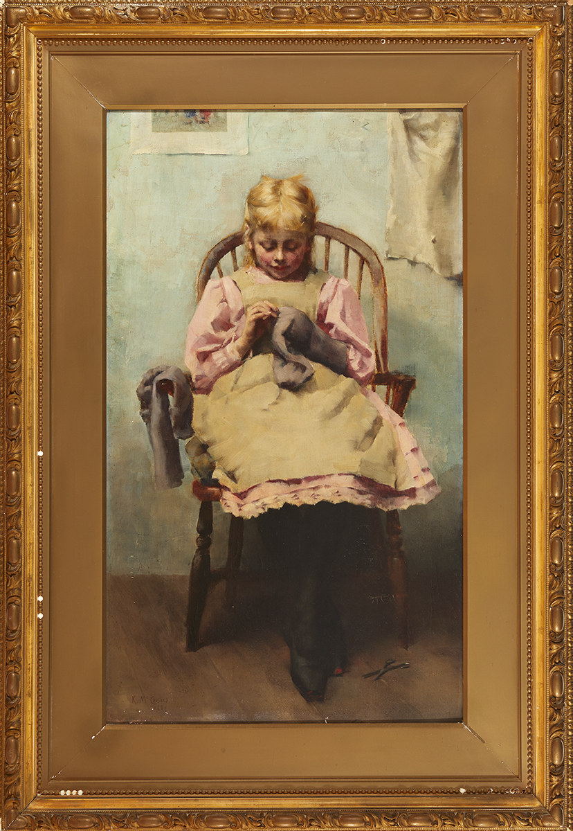Lot 21 - Charlotte Katherine MacCausland (1860-1930)YOUNG GIRL DARNING, 1887 oil on canvas signed and dated