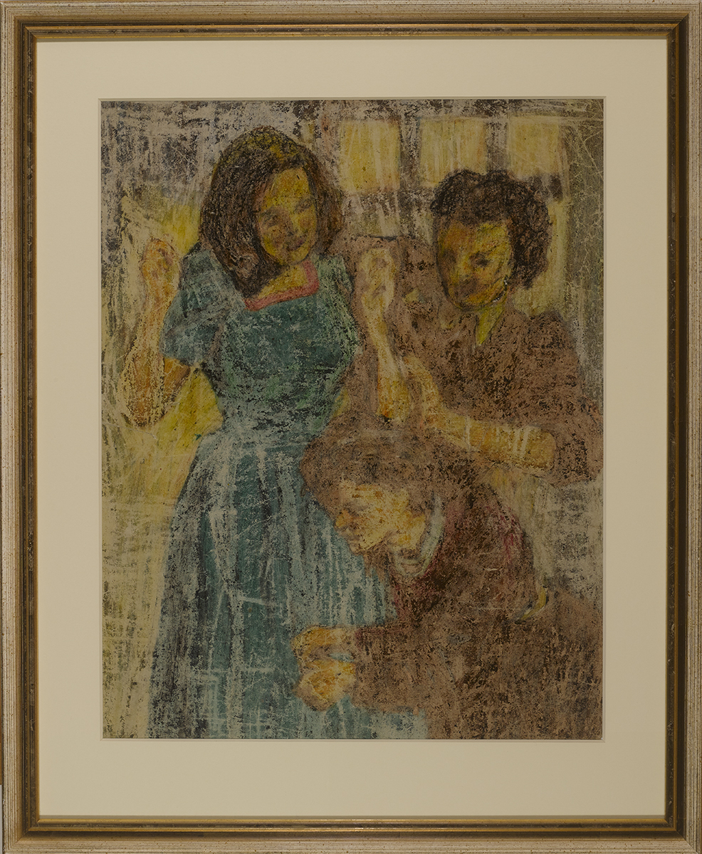Lot 44 - William Conor OBE RHA RUA ROI (1881-1968)THE NEW FROCK crayon on paper 21.25 by 16.50in. (54 by 41.