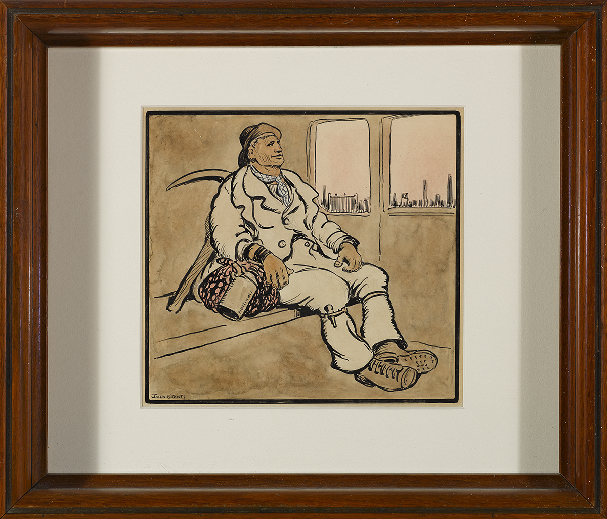 Lot 26 - Jack Butler Yeats RHA (1871-1957)IN THE TRAIN pen, ink and watercolour signed lower left 7.25 by 7.