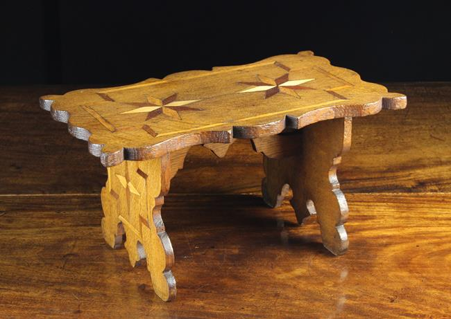 Lot 47 - A Small & Decorative Welsh Boarded Oak Stool with parquetry inlay.