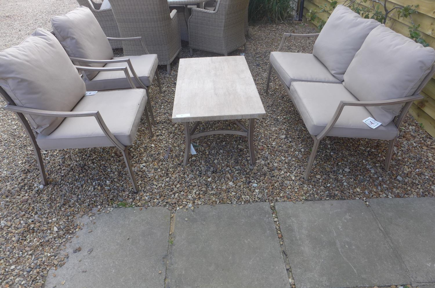 Lot 46 - A Bramblecrest Dovedale sofa and two armchairs and a coffee table, with season proof cushions, ex-