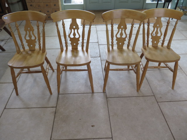 Lot 27 - A set of four modern beech lyre back kitchen chairs, in good clean polished condition