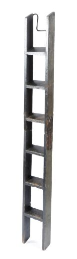 Lot 567 - A Victorian ebonised wood coaching ladder, in two sections, with six treads and an iron hook,